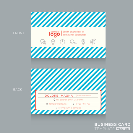 name template: Trendy Business card Design Template with blue stripe background