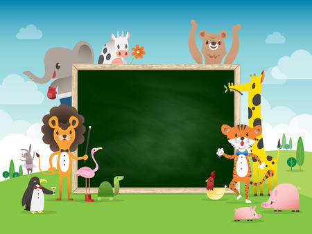 study group: Animal cartoon frame border template with green chalk board vector illustration
