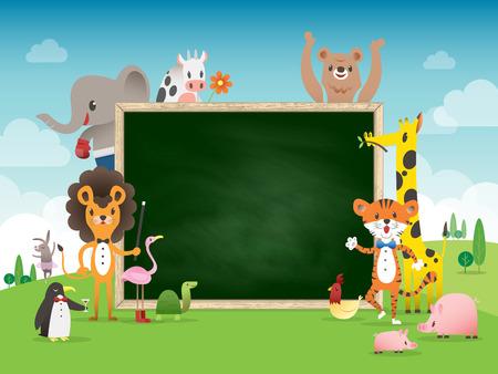 jirafa fondo blanco: Historieta animal plantilla de la frontera del marco con tiza ilustraci�n vector de la tarjeta Vectores