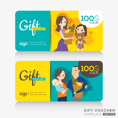 gift background: supermarket coupon voucher or gift card design template with illustration of customers holding a shopping bag