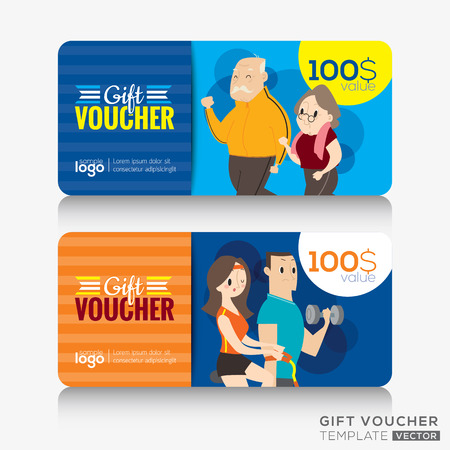 fitness center: Fitness center gym coupon voucher or gift card design template with illustration of adult and senior citizen doing exercises and workouts