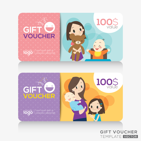 mother and infant: kids store coupon voucher or gift card design template with illustration of cute mother and children