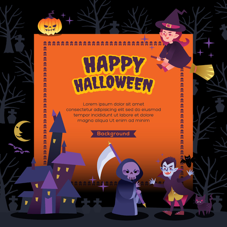 ghosts: happy halloween party background vector illustration Illustration