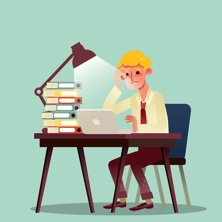 hard working man: hard working business man with pile of work on desk vector cartoon illustration