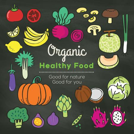 Biologisch voedsel doodle op schoolbord achtergrond vector illustratie Vector Illustratie