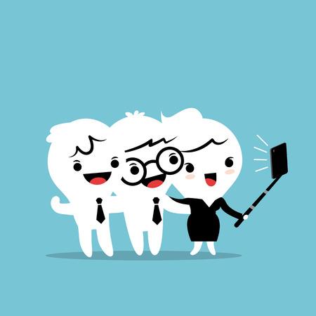 persona feliz: tres hombres de negocios que toman un selfie con smartphone ilustración de dibujos animados de vectores