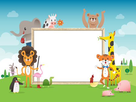 animal border: Animal cartoon frame border template with whiteboard vector illustration
