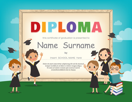 graduacion caricatura: Kids School Diploma certificado de antecedentes plantilla de diseño Vectores