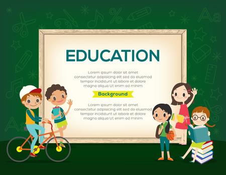 cute cartoon kids: Happy group of Kids Education background design template
