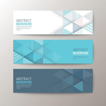 rayas de colores: Conjunto de moderno plantilla de banderas de diseño con el patrón de triángulo de fondo abstracto Vectores