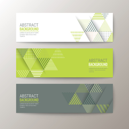 abstract: Set van modern design banners sjabloon met abstracte driehoek patroon achtergrond