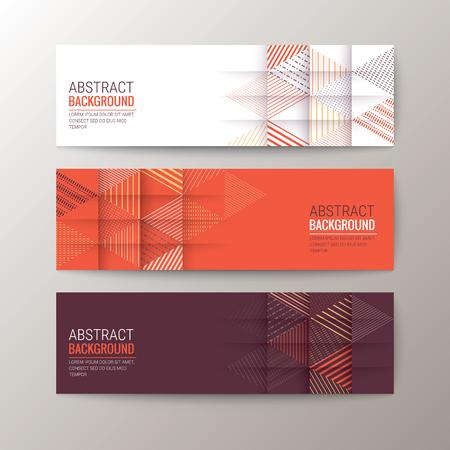 tri�ngulo: Conjunto de moderno plantilla de banderas de dise�o con el patr�n de tri�ngulo de fondo abstracto Vectores