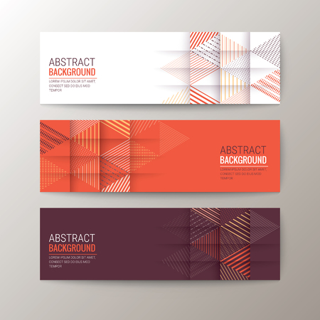 maroon: Set of modern design banners template with abstract triangle pattern background