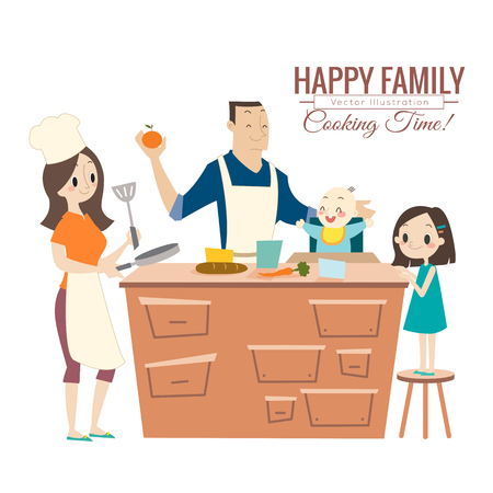 meal time: happy family with parents and children cooking in kitchen vector cartoon illustration Illustration