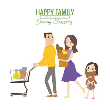 family life: happy family in grocery store with shopping cart vector cartoon illustration