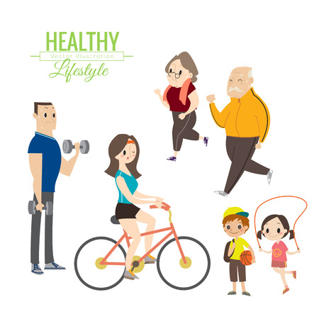 exercise bike: healthy lifestyle happy family exercising vector cartoon illustration
