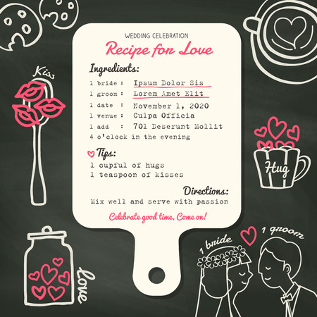Recipe card creative Wedding Invitation design template with cooking concept