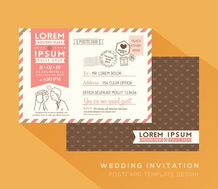 Carte postale de mariage mignonne Vector Template Vecteurs
