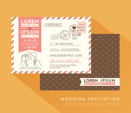 Nette Postkarte Hochzeitskarte Design-Vorlage Vektor Standard-Bild - 47210562