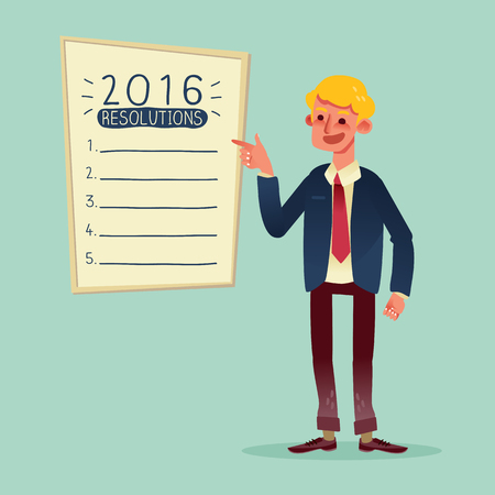 list: Smiling businessman with 2016 new year resolutions list vector cartoon illustration Illustration