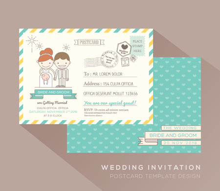 postage stamp: Cute postcard wedding card design Vector Template Illustration
