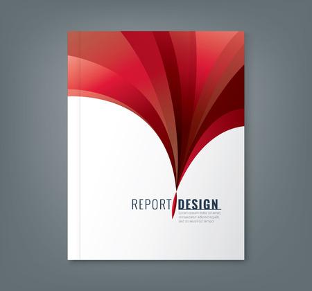 抽象企業アニュアル レポート本カバー パンフレット チラシ ポスターの赤波背景