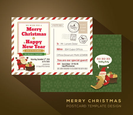 vintage postcard: Christmas and Happy New year holiday airmail postcard background vector for party invitation card
