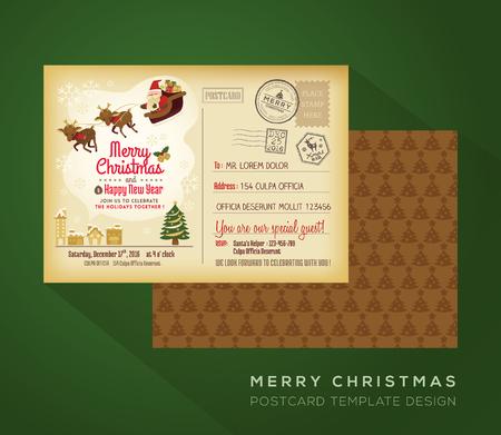 postcard: La vendimia y Feliz fondo de año nuevo día de fiesta Postal del vector para la tarjeta de invitación del partido Vectores