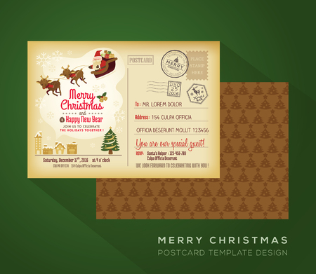 christmas postcard: Vintage Christmas and Happy New year holiday postcard background vector for party invitation card Illustration