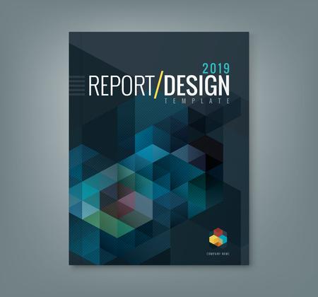 기업 비즈니스 연례 보고서 책 표지 브로셔 전단지 포스터 추상 육각 큐브 패턴 배경 디자인