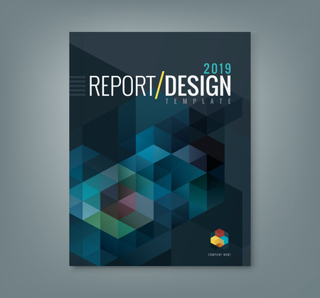 brochure template: Abstract hexagon cube pattern background design for corporate business annual report book cover brochure flyer poster Illustration