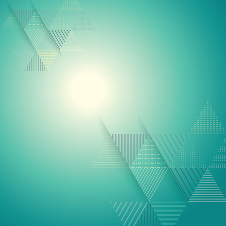 turquesa: patrón de triángulo línea de la raya abstracta con la luz brillante del fondo del vector Vectores