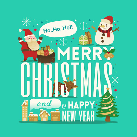red snowflake background: Greeting Christmas and New Year cute typography with santa claus snowman illustration Illustration