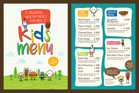 cartoon dinner: Cute colorful kids meal menu vector template