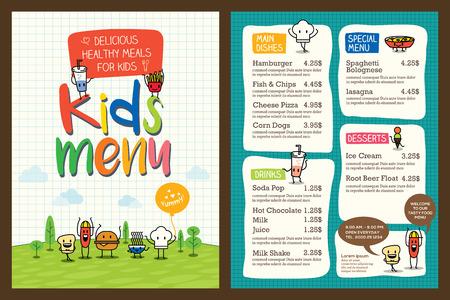 cute: Lindo niños coloridos menú comida tarjeta vector