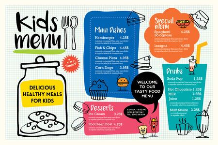 귀여운 다채로운 어린이 식사 메뉴 플레이스 벡터 템플릿 일러스트