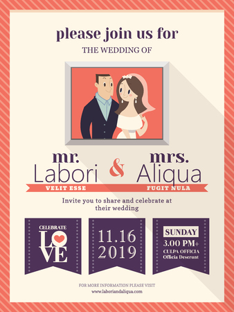 wedding couple: wedding invitation card template with cute groom and bride cartoon