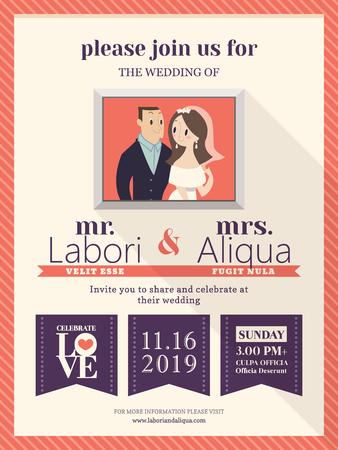 love illustration: wedding invitation card template with cute groom and bride cartoon