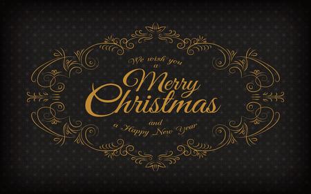 navidad elegante: Feliz Navidad y un feliz nuevo saludo marco de la vendimia del año Vectores