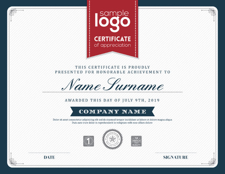 retro design: Modern certificate background frame design template