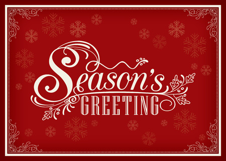 happy holidays card: Season greeting word vintage frame design on red background Illustration
