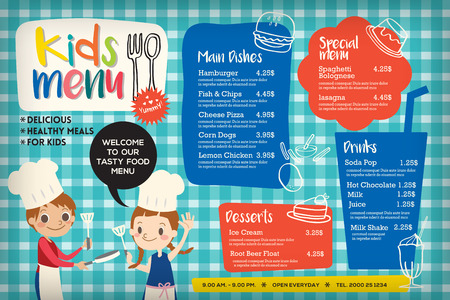 Cute colorful kids meal menu placemat vector template Ilustração
