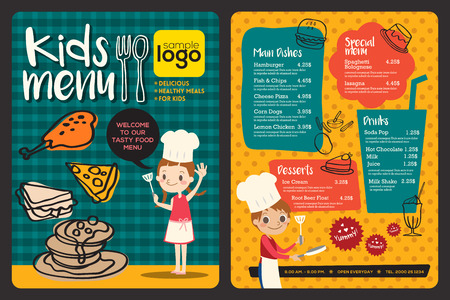 people eating restaurant: Cute colorful kids meal menu vector template