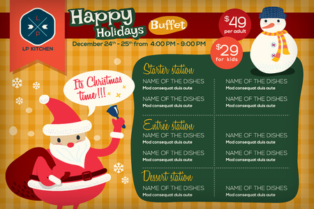 placemat: Cute colorful restaurant menu placemat with holidays christmas theme vector template