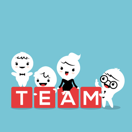 teamwork cartoon: group of business man and woman with TEAM word in block, teamwork concept illustration Illustration