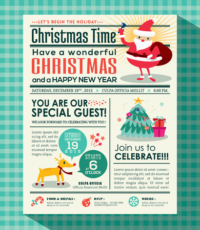 vintage newspaper: Christmas party poster invite background in newspaper style