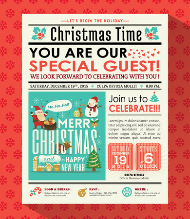 Christmas party poster invite background in newspaper style Zdjęcie Seryjne - 49073148