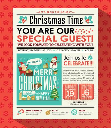 oude krant: Kerstfeest poster nodigen achtergrond in de krant stijl Stock Illustratie