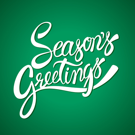 Seasons greetings hand lettering vector calligraphy Illustration