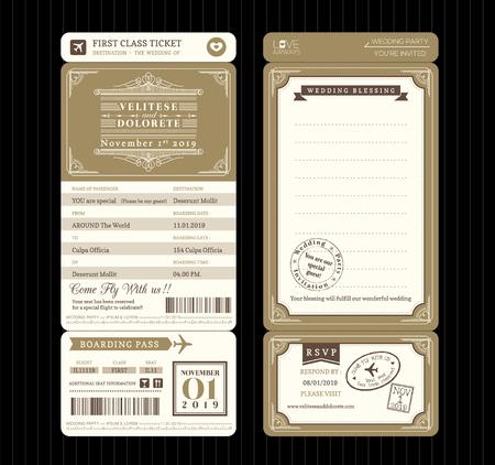 Stile vintage carta d'imbarco biglietto invito a nozze Template Vector